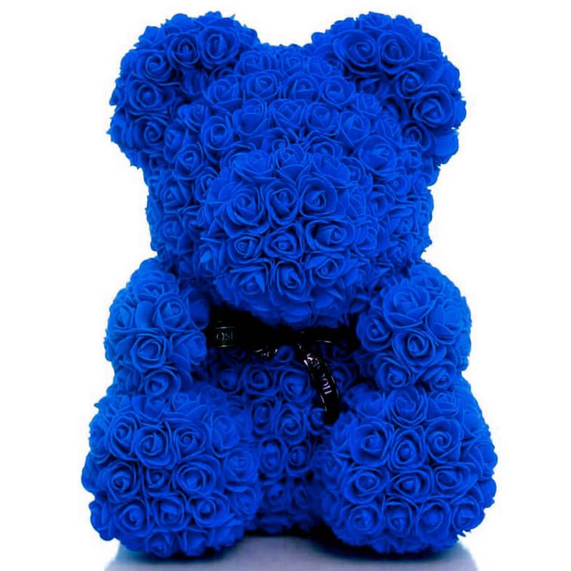 Мишко з 3D троянд висотою 40см Синій