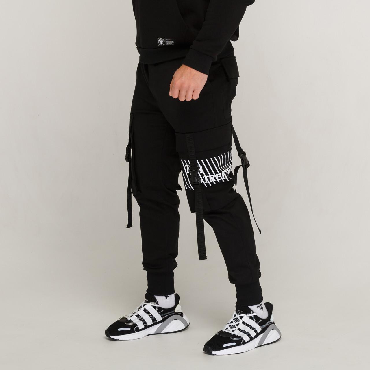 Карго штаны с лямками и принтом черные от бренда ТУР модель Ёсида (Yoshida)