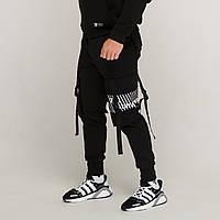 Карго штаны с лямками и принтом черные от бренда ТУР модель Ёсида (Yoshida) Подростковые Рост 140см - 188см.