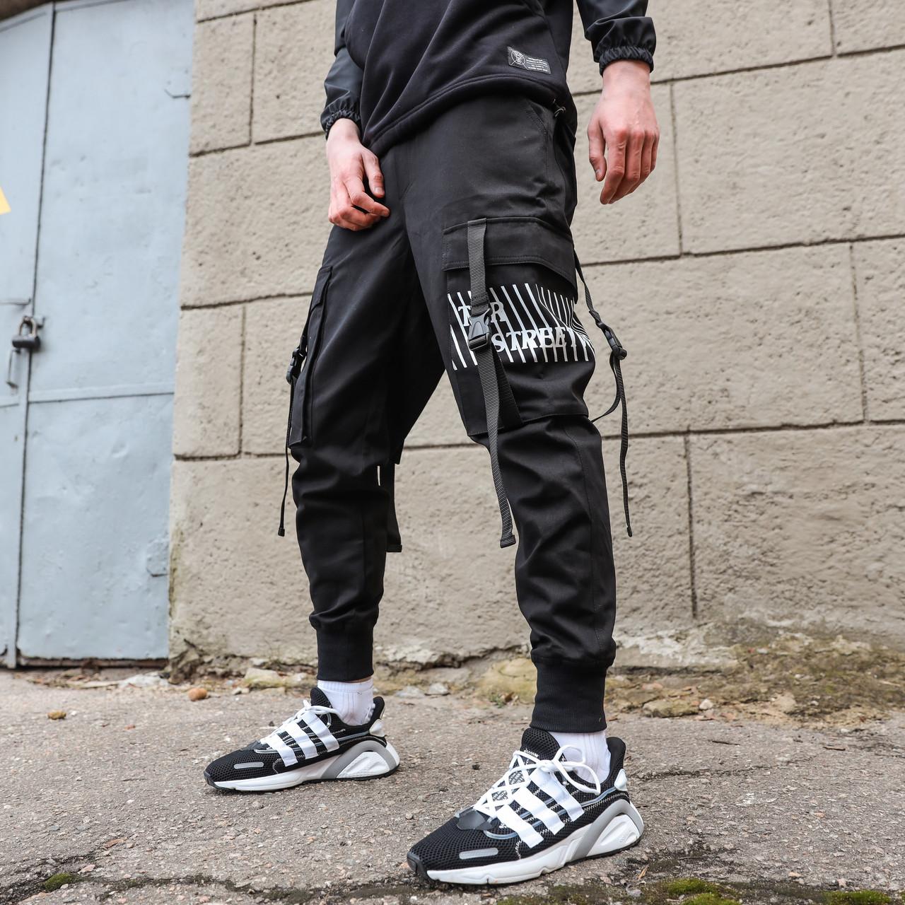 Карго штаны подростковые черные, от бренда ТУР модель Ёсида (Yoshida) Рост 140см - 188см.