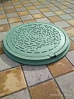 Канализационный люк полимерпесчаный садовый зеленый с замком, фото 1