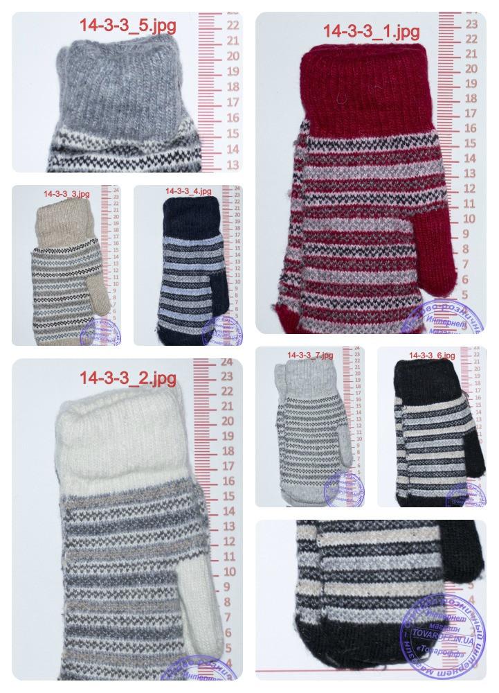 Унисекс перчатки вязаные двойные - разные цвета - 14-3-9