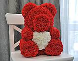 Мишка из 3D роз высотой 40см Красный, фото 2
