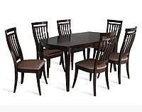 Кухонный комплект стол Дистре деревянный+стулья Бандоль-2 (6 шт) темный орех