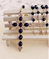 Длинное ожерелье подвеска цепочка БОЛЬШОЙ КРЕСТ крестик позолота 14К