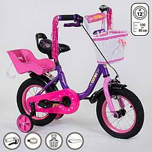 """Велосипед 12"""" дюймов 2-х колёсный 1275 """"CORSO"""" (1) новый ручной тормоз, корзинка, звоночек, сидение с ручкой, доп. колеса, СОБРАННЫЙ НА 75% в коробке"""