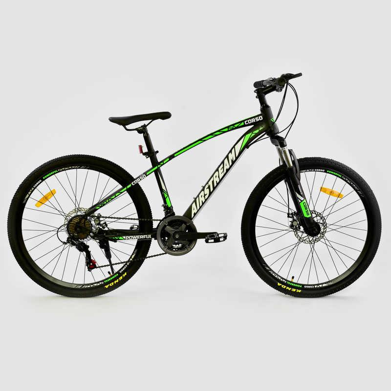 """Велосипед Спортивный CORSO AIRSTREAM 26"""" дюймов JYT 002 - 8047 BLACK-GREEN (1) рама металлическая 17``%"""
