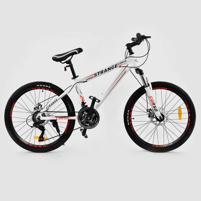 "Велосипед Спортивный CORSO STRANGE 24""дюйма JYT  WHITE (1) рама алюминиевая 13``"