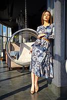 Свободное шелковое платье миди длины с рюшей 42-48 размеры синее