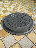 Люки канализационные полимерпесчаные легкие черные с замком (до 3т), фото 1