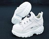Кроссовки Buffalo London женские, белые, в стиле Буфало. Натуральная кожа, прошиты. Код KD-11956