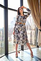 Свободное шелковое платье миди длины с рюшей 42-48 размеры коричневое