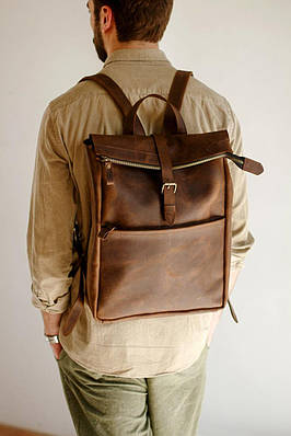 Стильний чоловічий рюкзак з кишенею на блискавці спереду з натуральної шкіри
