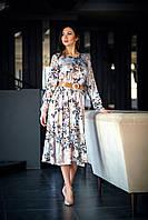 Свободное шелковое платье миди длины с рюшей 42-48 размеры серое