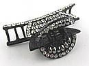 Краб металлический со стразами черный 8 см, фото 3