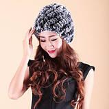 Женская меховая шапка из кролика шиншиллы Диагональ, фото 4
