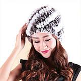 Женская меховая шапка из кролика шиншиллы Диагональ, фото 2
