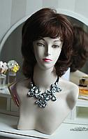 Парик женский из натуральных волос, стрижка каскад, объемная макушка, цвет шоколад