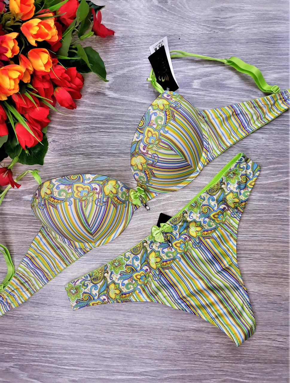 Комплект бюст +сринги Elan атласный С75 см салатовый в разноцветную полоску (6190)