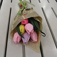 Букет из мыльных цветов  тюльпаны и розы Цветочная композиция из мыла ручной работы  Мыльный букет