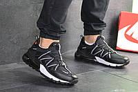 Кроссовки Nike, Найк. Натуральная кожа и сетка. Силиконовые подушки. Код SD-8132. Черные с белым