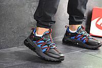 Кроссовки Nike, Найк. Натуральная кожа и сетка. Силиконовые подушки. Код SD-8130. Черные с синим
