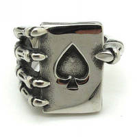 Мужское кольцо удачи стальное сталь 316L скелет