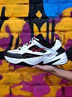 Кроссовки Nike M2K Tekno мужские, белые, в стиле Найк М2К Техно. Натуральная кожа, замша, прошиты. Код Z-1961