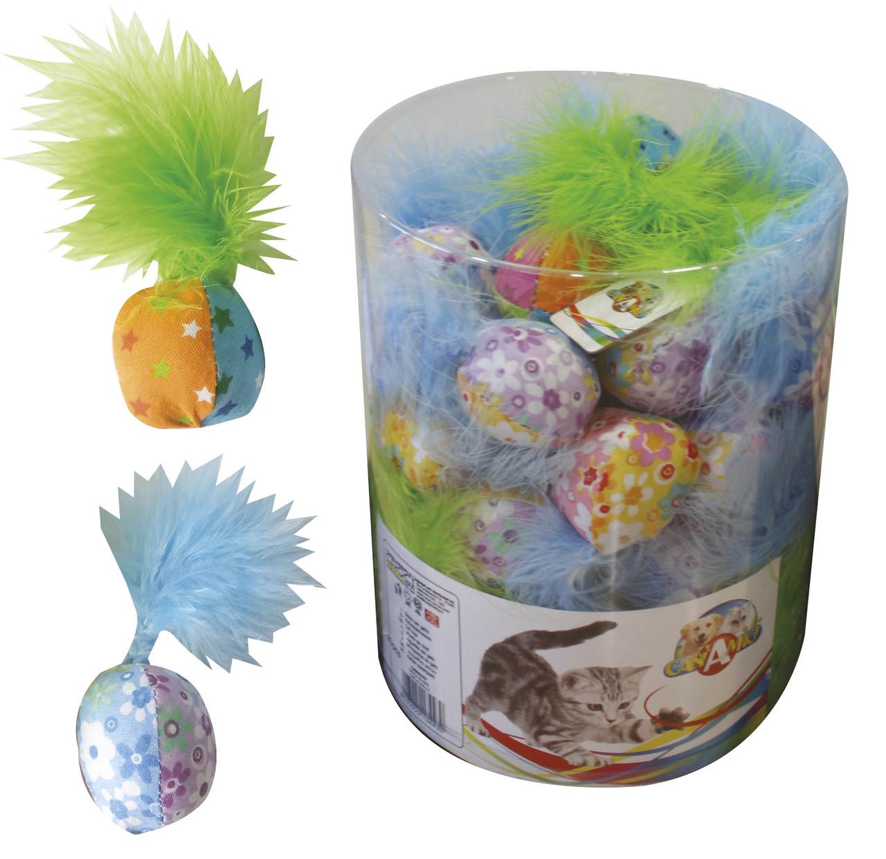 Игрушка для кот. CROCI мяч цветной с пером. 4см, 40шт/уп (цена за 1шт)