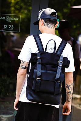 Стильний чоловічий рюкзак з кишенею зпереду з натуральної шкіри