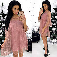 Платье двойка розового цвета С-М р.