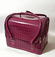Бьюти кейс чемодан для мастера салонов красоты из кожзама на змейке фуксия кроко