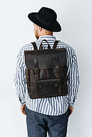 Строгий прочный мужской рюкзак для города из натуральной кожи