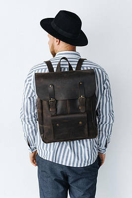 Строгий міцний чоловічий рюкзак для міста з натуральної шкіри