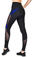 Утягивающие лосины для спорта с высокой талией / спортивные леггинсы со вставками Valeri 1221 черные с синим, фото 1