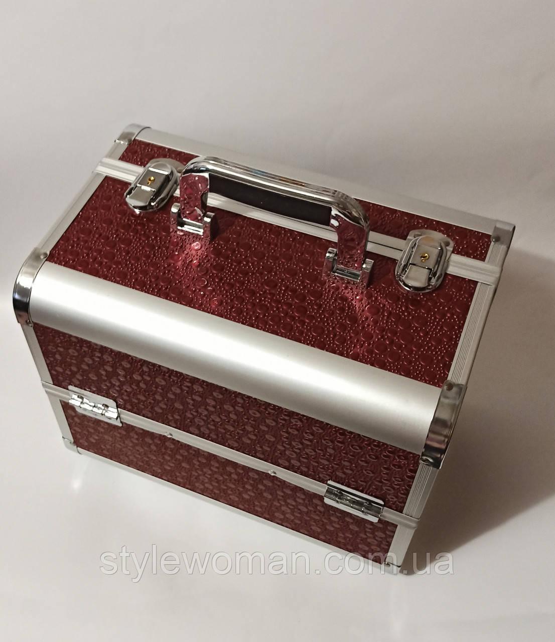 Бьюти кейс алюминиевый чемодан с ключем бордово коричневый кружочки для мастеров капелька капучино