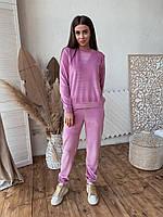 Женский костюм из бархата К 00553 с 01 розовый, фото 1