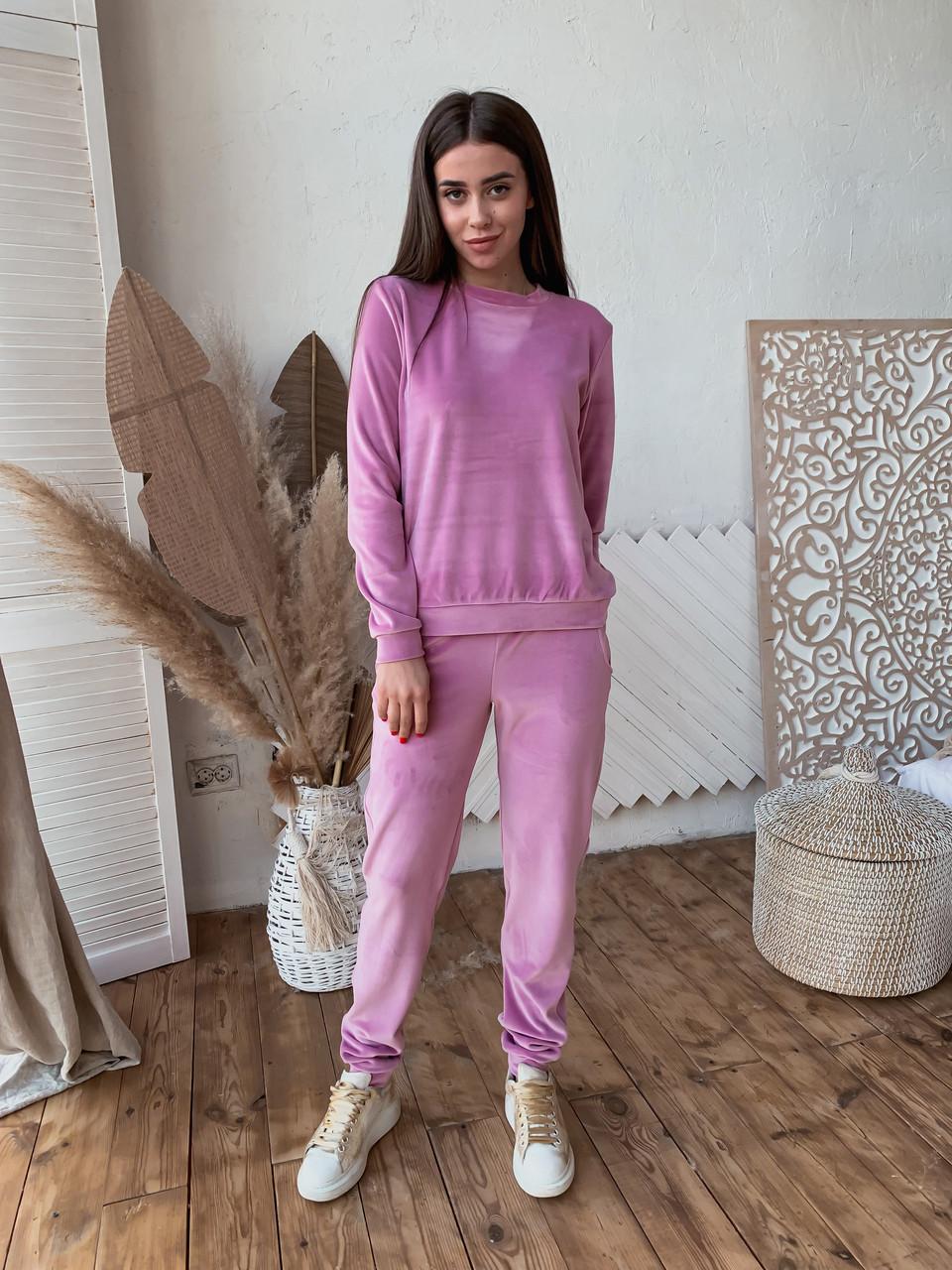 Женский костюм из бархата К 00553 с 01 розовый