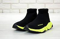Кроссовки Balenciaga Speed Trainer, черные, в стиле Баленсиага, материал - текстиль, код KD-12002