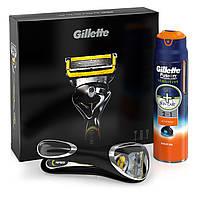 Мужской подарочный набор Gillette Fusion Proshield с сменной кассетой гель для бритья Fusion Proglide Sensitiv