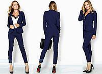 Женский деловой костюм-двойка  Пиджака и брюки  Gr  22950  Темный  Синий, фото 1