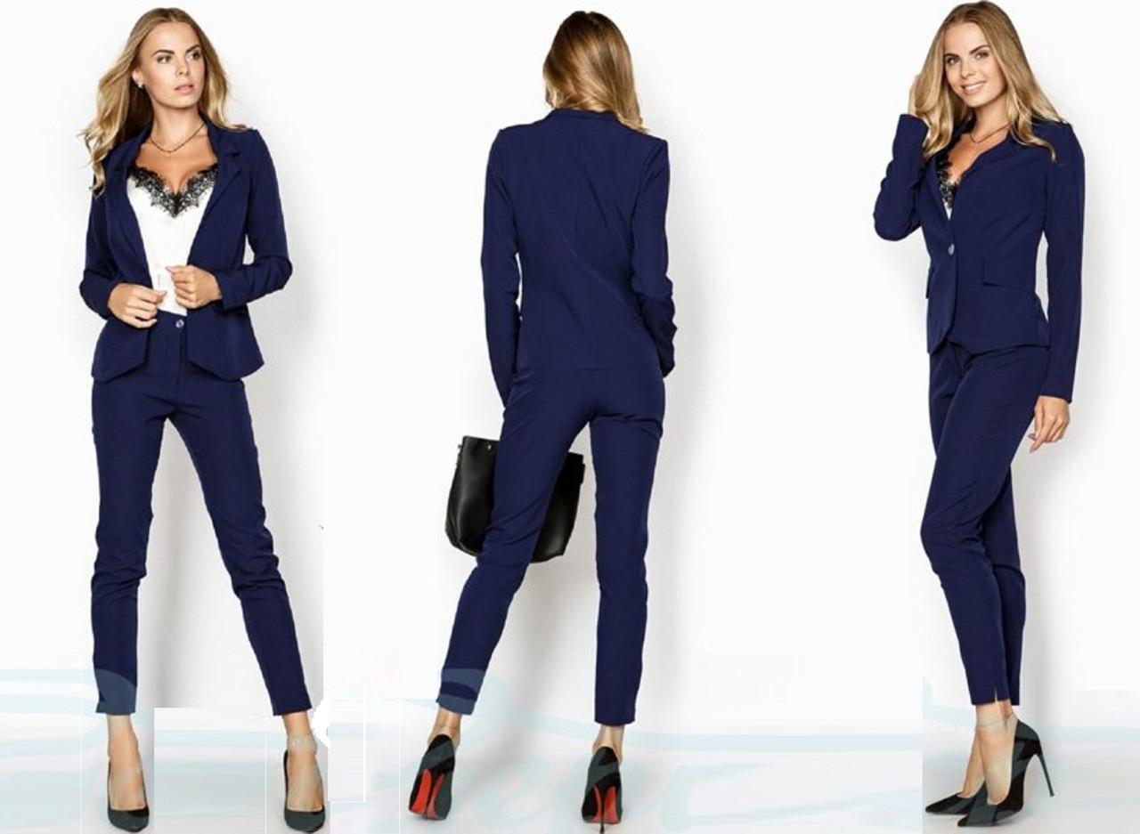 Женский деловой костюм-двойка  Пиджака и брюки  Gr  22950  Темный  Синий