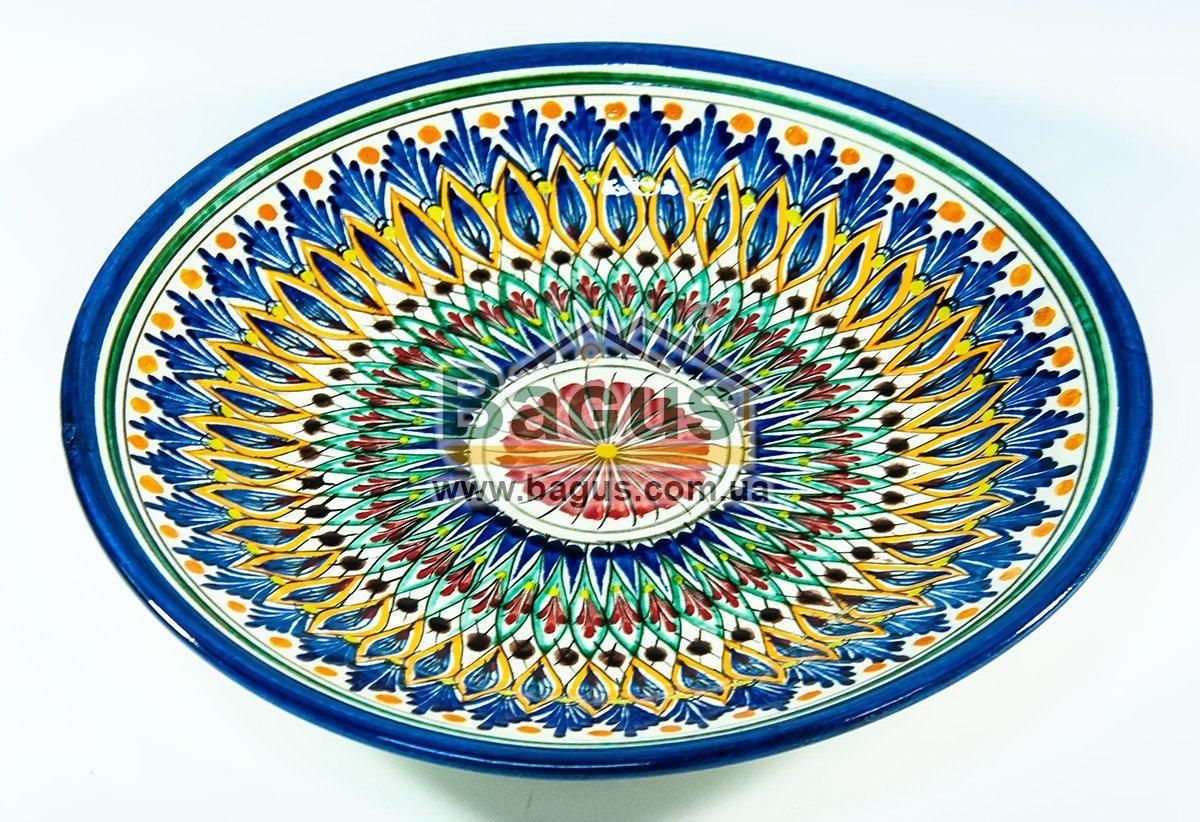 Тарелка узбекская диаметр 23см высота 3см ручная работа 2303-13