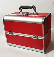 Бьюти кейс алюминиевый чемодан с ключом красный кожзам