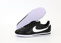 Мужские кроссовки Nike Cortez (Найк Кортез), черные, натуральная кожа, код KD-12065