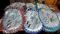Красивая нарядная салфетка на пасхальную корзину в разных цветах, фото 1