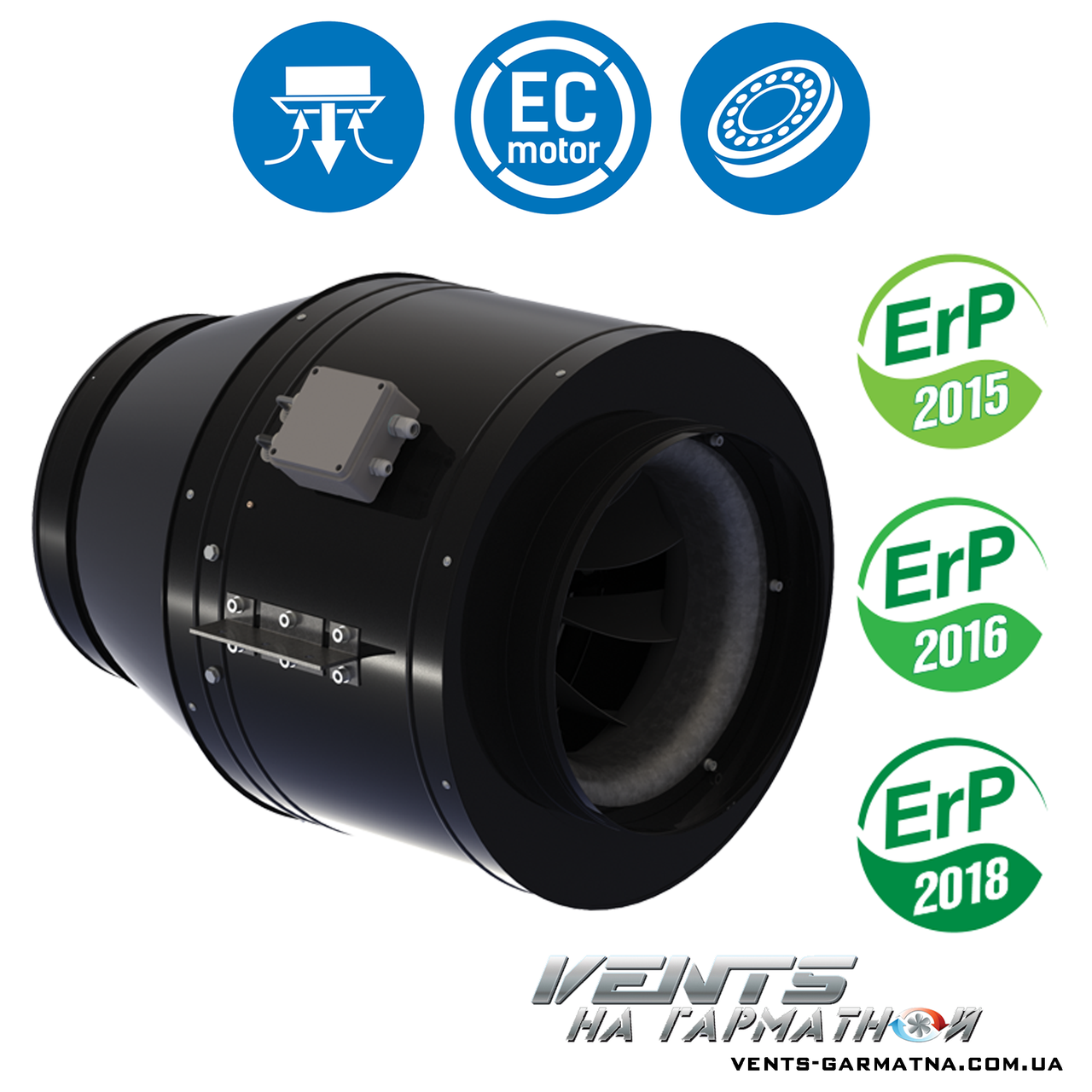 Вентс ТТ-МД 355-1 ЄС. Канальний вентилятор з ЄС-мотором