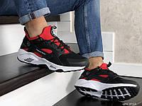 Кроссовки мужские Nike Huarache (Найк Хуарачи), черно-красные, текстиль, код SD-8952