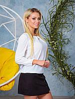 Белая стильная блузка женская из креп-шифона на резинке в размерах 42-52