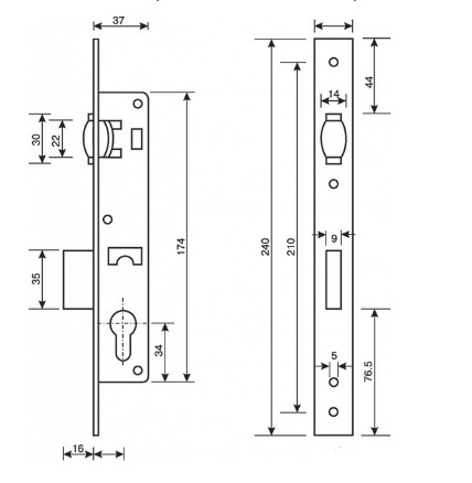 Врезной замок Апекс 38-R-NI-схема
